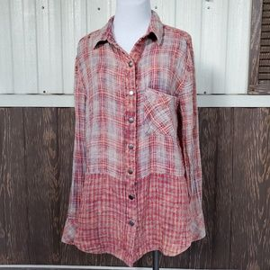 Free People red plaid snap button front shirt L